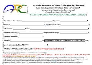 Bulletin d'adhésion de l'ARC
